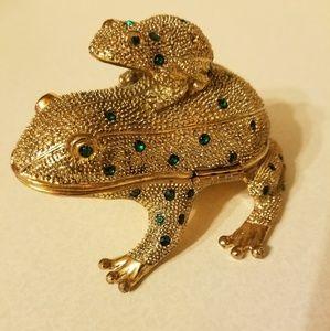 BOMBAY COMPANY Brass Frog Desk Set,